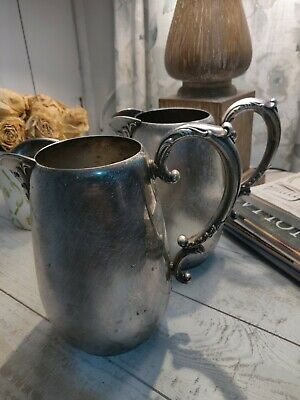 "2 Vintage Wm Rogers Silver Water Pitcher w/Ice Lip 7"" x 7"""