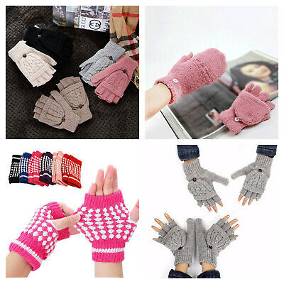 Ladies winter fingerless gloves with fold over mitten cover. Fleece thermal.