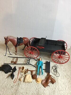 Marx 1960's Johnny West Covered Wagon W/Horse Girl Figure More