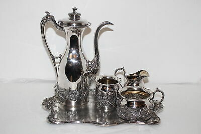 Antique Pairpoint Quadruple Silverplate Coffee/Chocolate/Tea Set-New Bedford, Ma