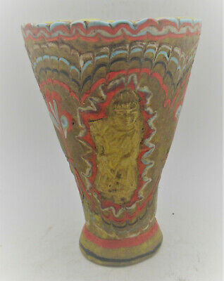 Rare Ancient Phoenician Mosaic Glass Chalice With Gold Plate Attachment 500Bce
