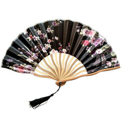 Hand Held Fans Silk Bamboo Folding Fans Handheld Folded Fan for Wedding _D