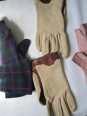 GLOVES VINTAGE LADIES 3 PAIRS:  1. tartan   2. leather finger less   3. driving