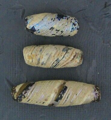 Ancient Glass Beads. 200 BC - 100 AD Hellenistic Period Banded Mosaic Beads