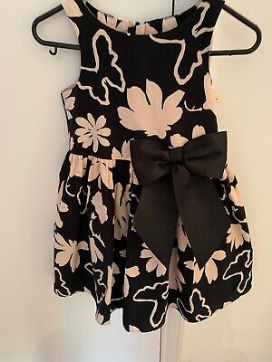 Girls Beautiful Black And Pale Pink Cotton Dress From Next Age 6