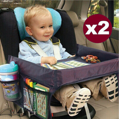 2x Car Child Safety Seat Waterproof Snack Travel Tray Kids Drawing Board Table