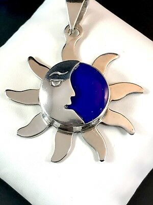 Amazing Signed Mexico 925 Sterling Silver Sun & Moon Lapis Lazuli Stone Pendant