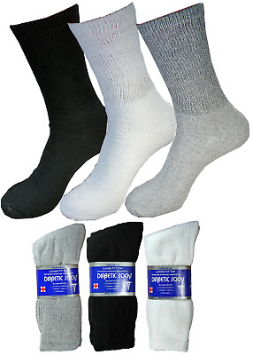 3-6-9 Pairs Diabetic Crew Circulatory Socks Health Mens Cotton 9-11 10-13 13-15