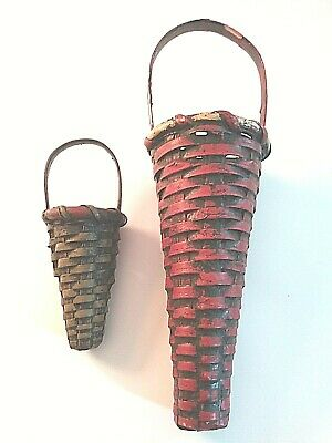 Pair of Cone Shaped Baskets Red Green Primitive Farmhouse Style