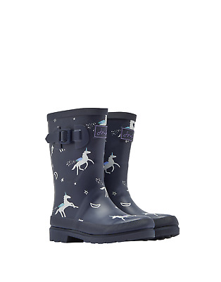 Joules Junior Girls Printed Wellingtons - Navy Blue Unicorns