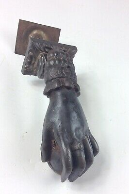 Antique Victorian hand w ring  cast iron door knocker