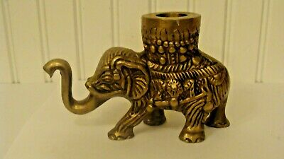 Vintage Solid Brass Elephant Figurine Candle Holder