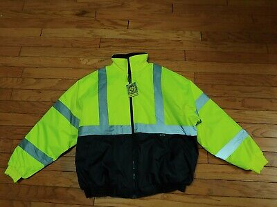 Occunomix High Visibility Yellow Safety Jacket With Hood Mens Sz XL