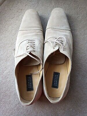 Barneys New York Mens Dress Shoes 9 M Beige suede Leather Cap Toe Made in Italy