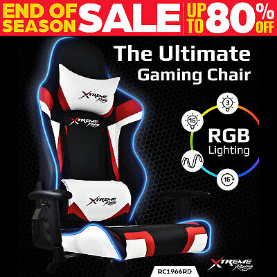 Xtreme Racing Gaming Office Chair LED Seat RGB PU Leather Computer Executive B