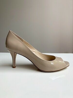 Wittner Nude Flesh Beige Patent Open Toe Pump 7cm Stiletto Low Heel - Size 39