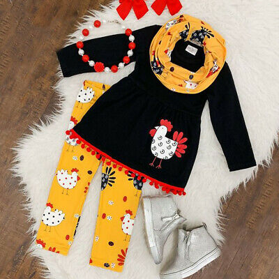 2-7Yrs Toddler Kid Baby Girl Cotton Tops Dress Thanksgiving Pants Outfit Clothes