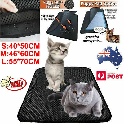 Kitty Litter Trapping Mat Cat Pad Double Layer Honeycomb Design Waterproof AU