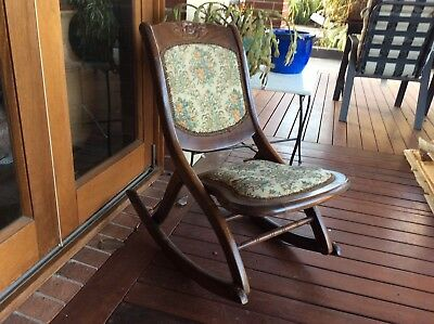 Vintage Antique  Wooden Folding Rocking Chair needle point detail - Melb