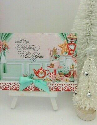Handmade Christmas Card: Candy Cane Cake with Lace