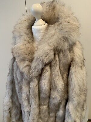 Women's Vintage Real White Fox Fur Jacket Size 8-10-12 Very Good Condition!