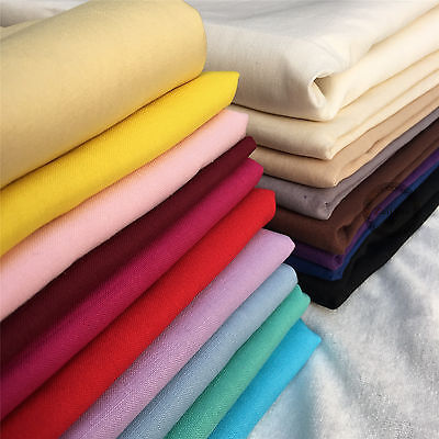 100% Cotton Fabric Fat Quarter Plain Solid Colours Per Metre For Crafts Quilting