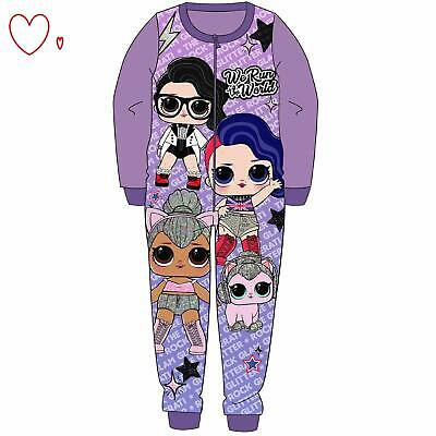 Girls LOL Surprise All in One Pyjamas Sleepsuit Pjs 2-8 yrs Fleece Purple
