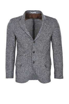 Brunello Cucinelli Blazer Men's 50  Gray Slim Twill Alpaca