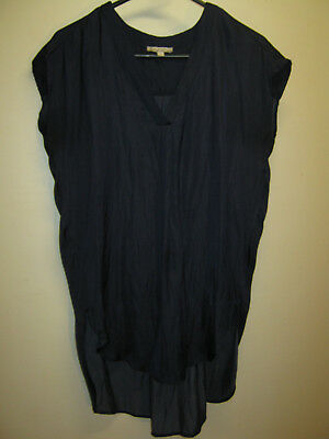 Target Collection Size 8 Navy Satin Look S/S Long Length Ladies Top