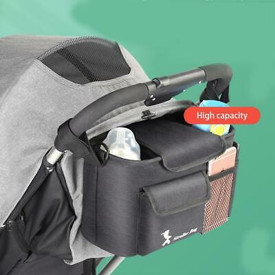 Baby Stroller Bag Nappy Diaper Bottle Holder Organizer Hanging Storage Bag Black