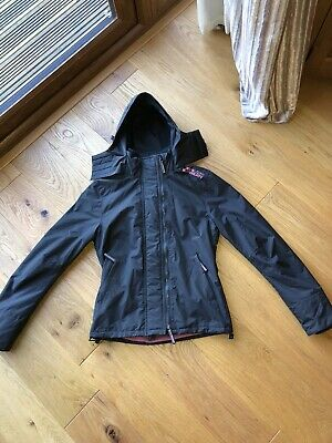 Superdry Ladies Girls Small Windcheater  Fleece Jacket Black Pink