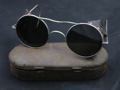 Rare Antique Welding Glasses Motorcycle Goggles Vintage With Tin Et84