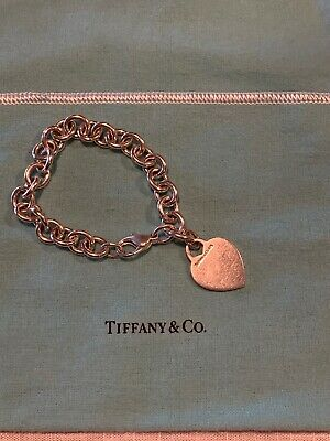 Tiffany & Co. Sterling Silver Heart Tag Bracelet 7.25""