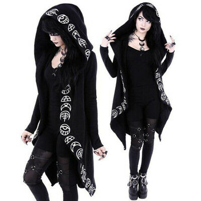 Punk Rave Womens Gothic Hooded Cloak Jacket Coat Black Steampunk Witch Cosplay