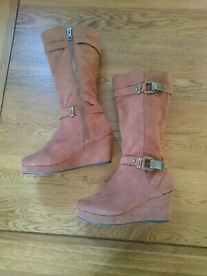 Girls Gorgeous Brown Suede Affect River Island Boots Size 12