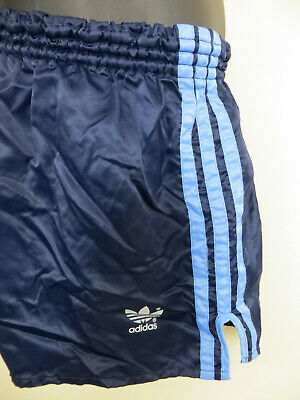 Vintage Adidas 80s 1980 Shorts Blue Navy Retro Vtg Shiny Nylon Mens D7 7 Large L