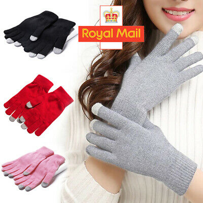 Touch Screen Winter Knitted GLOVES Ladies Mens Kids Smart Phone Tablet Warmer UK