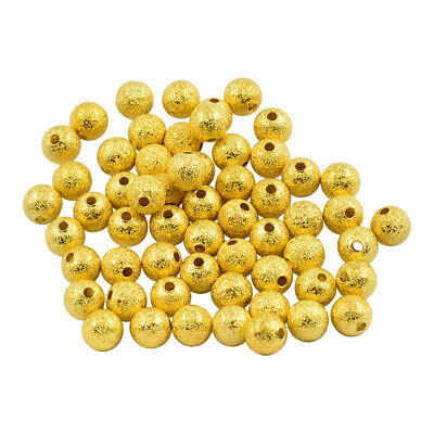 50 PCS 8mm Gold Plated Round Spacer Beads for Jewelry Makings Pendant DIY
