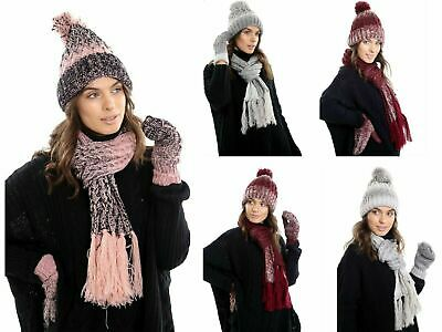 Uk Womens Knitted Warm Hat Scarf & Thick Fleece Lined Mittens Ladies Winter set