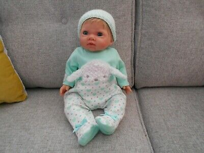 """Chad Valley Tiny Treasures Newborn Baby Girl Doll 18"""" Weighted Body Dressed"""