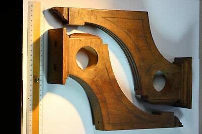 Pair Antique French Carved Hardwood Curtain Pole Brackets (49mm diameter pole)