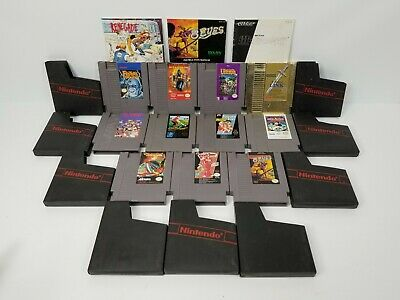 Lot of 11 Nintendo NES Classic Games with Sleeves and Storage Box