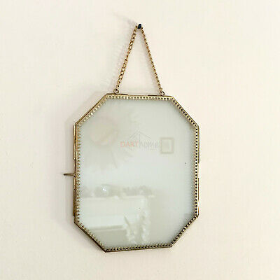 Antique Baroque Gothic Brass Metal Chain Wall Hanging Glass Photo Picture Frame
