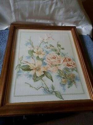 Vintage Completed & framed cross stitch of flowers (roses & others) - VGC