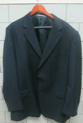 Hickey Freeman Black Blue Striped 100% Wool Jacket Pants Suit Mens - 44 LNG