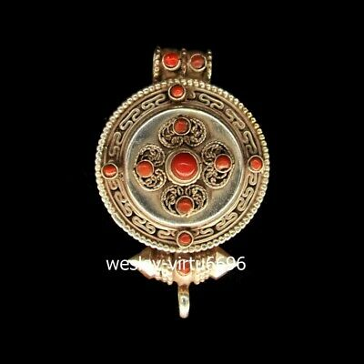 Tibet Buddhism Temple Silver Inlay Coral amulet Pendants Gawu Box shrine niche