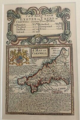 Antique Map Copper Plate Hand Coloured Cornwall Exeter to Truro 16/1700s