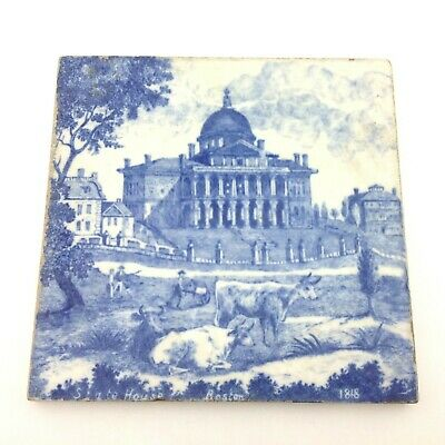 Antique Mintons China Works Stoke On Trent Transferware Tile Old Building