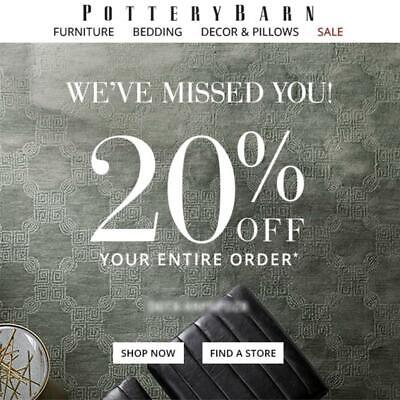20% off POTTERY BARN promo coupon code FAST onIine or in store Exp 11/22/19 15