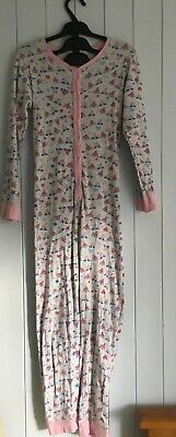 Girls all in one pj pyjama size 9-10 years Primark Essential grey pink flag hart